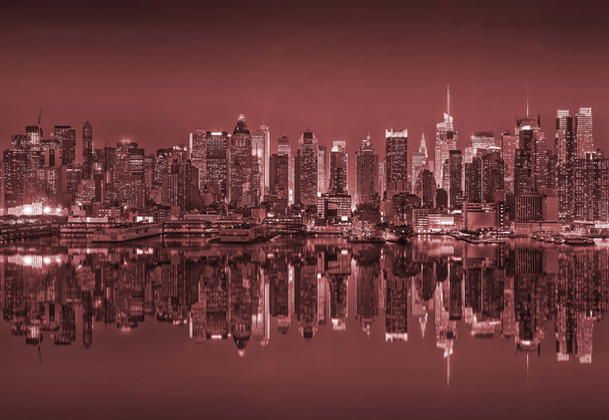 Fotobehang New York Reflections in Red