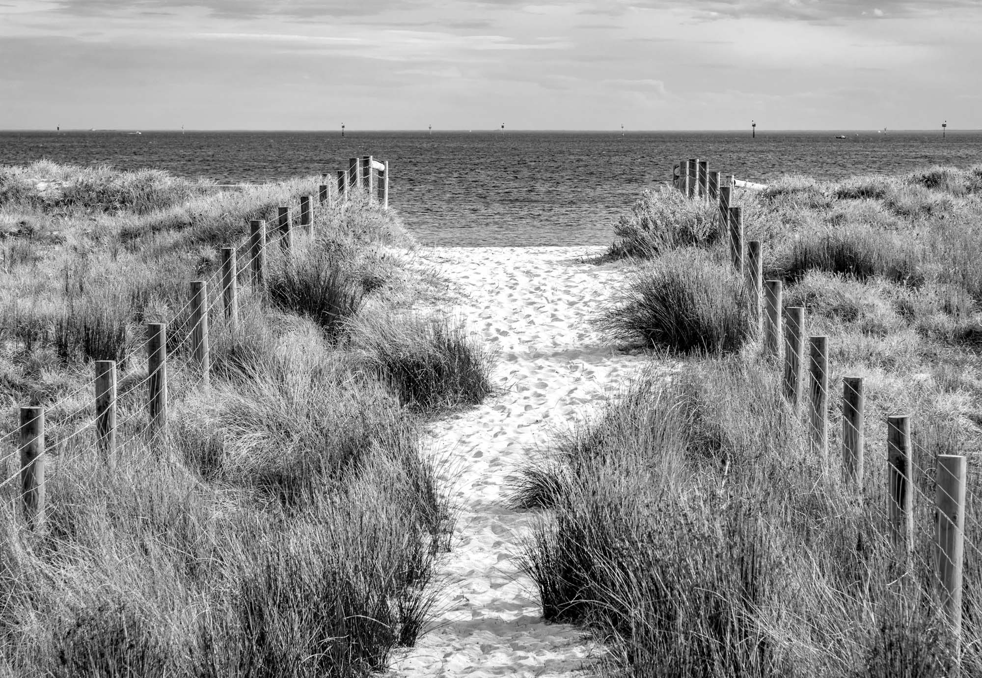 Fotobehang Let's go to the Beach BW