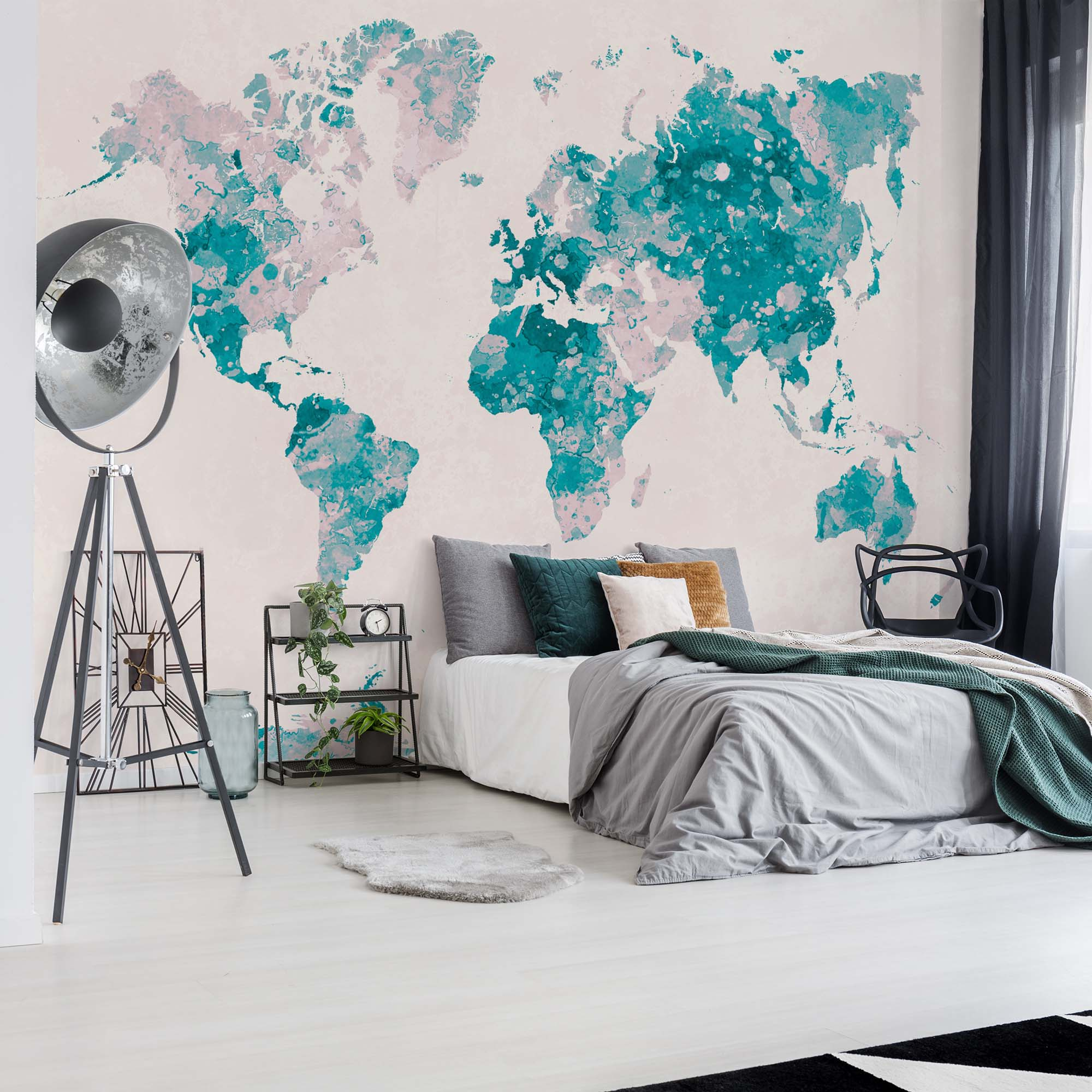 Fotobehang World Map in Turquoise and Pink