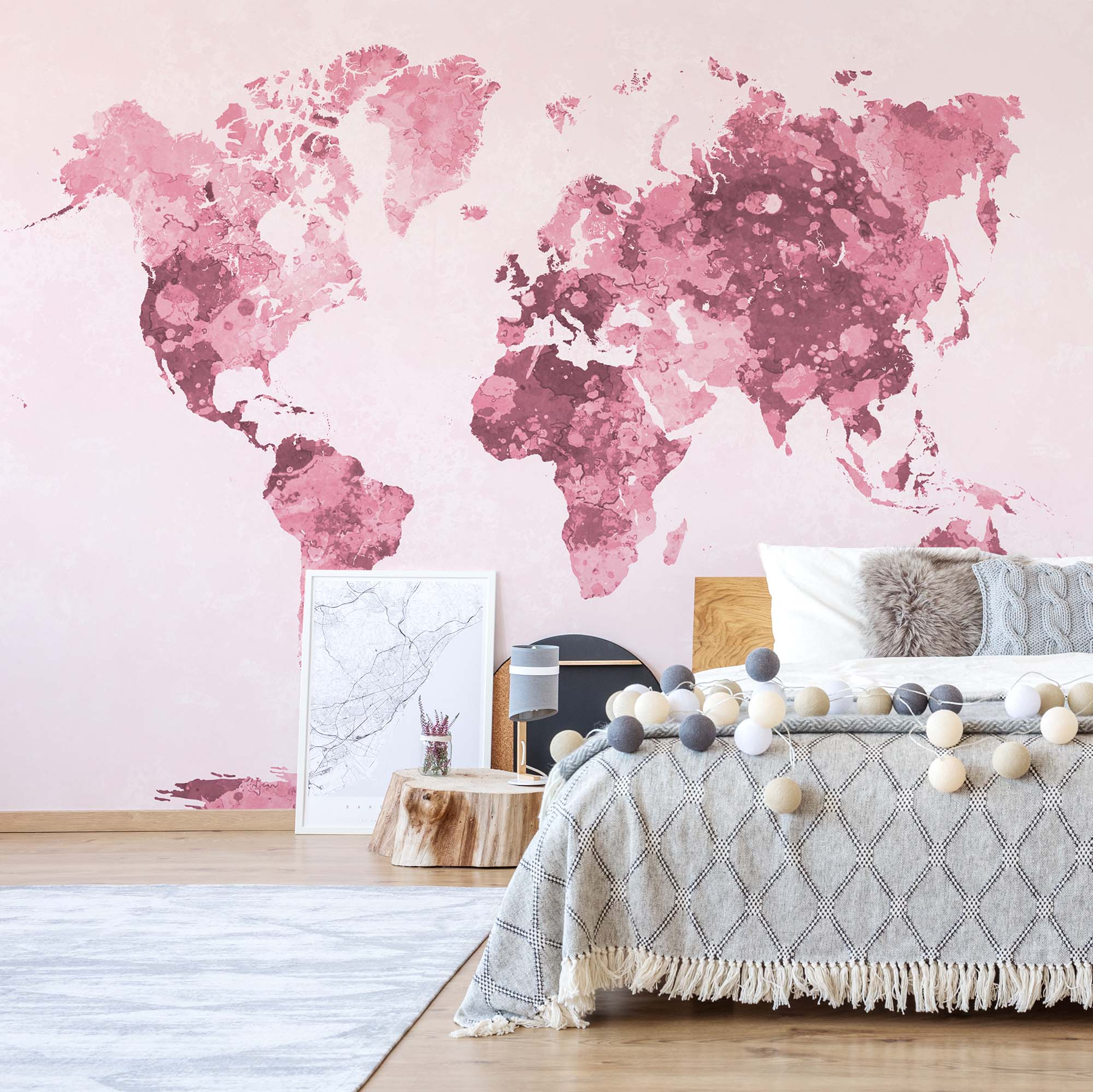 Fotobehang World Map in White and Red