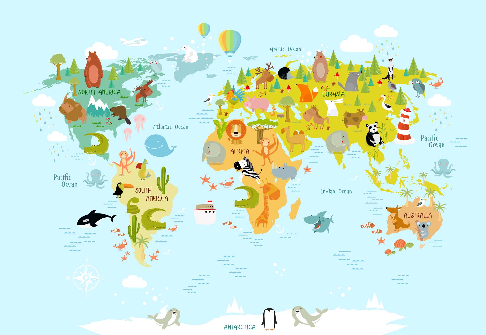 Fotobehang Animals of the World Map