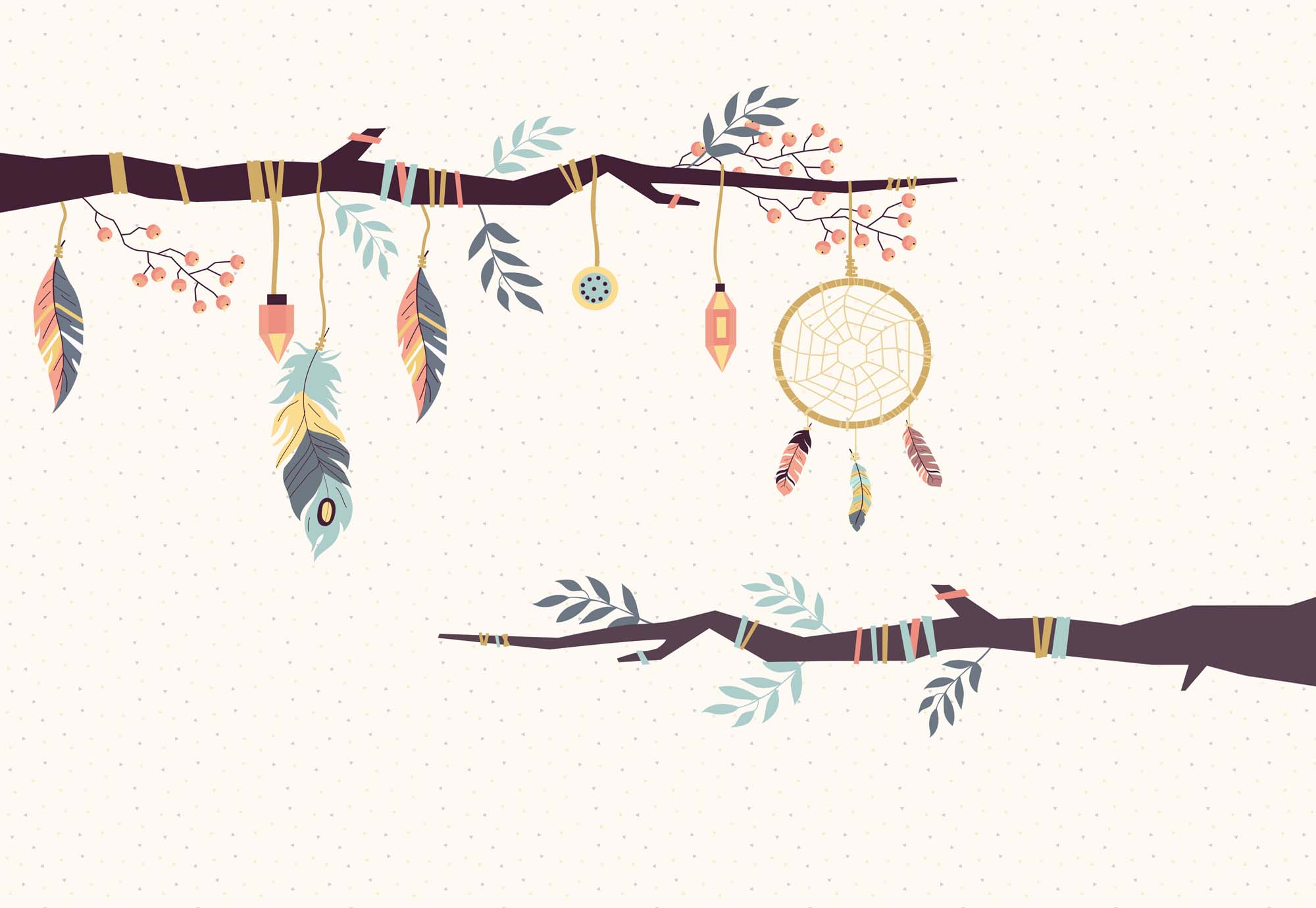 Fotobehang Branches with Feathers