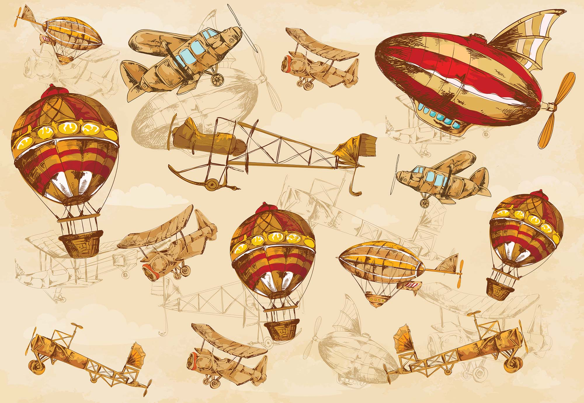 Fotobehang Vintage Planes and Balloons
